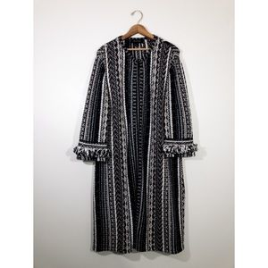 St. John Weave Wool Blend Long Cardigan